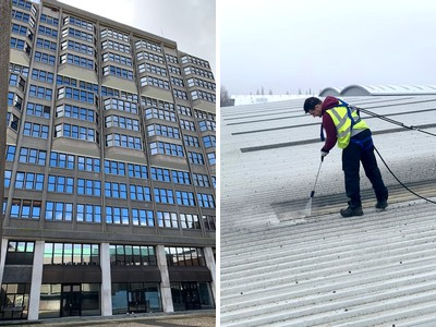 Tall Building Windows, Industrial Building Roof Cleaning